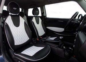 MINI Cooper Alba eco-leather Zwart Wit Dubbel Diamond Stiksel Borduren Logo